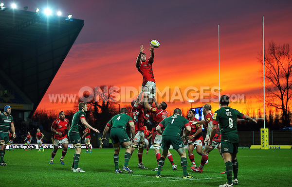 James Down of London Welsh rises high to win lineout ball. Aviva Premiership match, between London Welsh and Leicester Tigers on November 23, 2014 at the Kassam Stadium in Oxford, England. Photo by: Patrick Khachfe / JMP