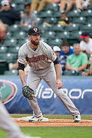 Nashville Sounds first baseman Ike Davis (21) on defense during the Pacific Coast League baseball game against the Oklahoma City Dodgers on June 12, 2015 at Chickasaw Bricktown Ballpark in Oklahoma City, Oklahoma. The Dodgers defeated the Sounds 11-7. (Andrew Woolley/Four Seam Images)