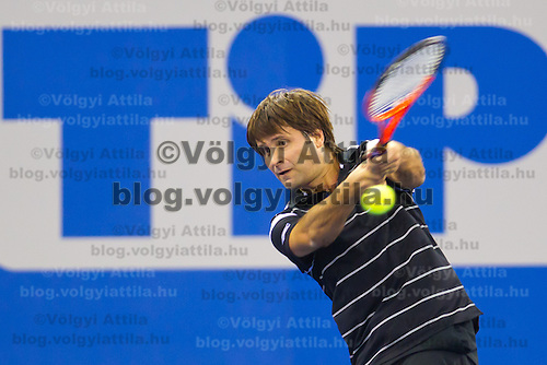 Fabrice Santoro from France plays an exhibition match against Richard Krajicek (not pictured) from Netherlands during the Tennis Classics tournament in Budapest, Hungary on October 29, 2011. ATTILA VOLGYI