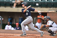 Pulaski Mariners designated hitter Daniel Torres #8 swings at a pitch during a game against the Greenville Astros at Pioneer Park July 12, 2014 in Greenville, Tennessee. The Mariners defeated the Astros 11-10. (Tony Farlow/Four Seam Images)