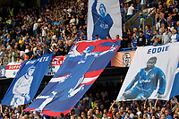 Chelsea fans unfurl a mural of Chelsea manager, Frank Lampard and other ex-players during the Premier League match between Chelsea and Sheff United at Stamford Bridge, London, England on 31 August 2019. Photo by Carlton Myrie / PRiME Media Images.