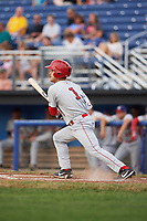 Auburn Doubledays shortstop Ryan Merrill (1) hits a single in the top of the third inning, his first hit in professional baseball, during a game against the Batavia Muckdogs on July 6, 2017 at Dwyer Stadium in Batavia, New York.  Auburn defeated Batavia 4-3.  (Mike Janes/Four Seam Images)
