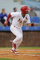 Second baseman Chris Rivera (11) of the Johnson City Cardinals in a game against the Elizabethton Twins on Sunday, July 27, 2014, at Howard Johnson Field at Cardinal Park in Johnson City, Tennessee. The game was suspended due to weather in the fifth inning. (Tom Priddy/Four Seam Images)