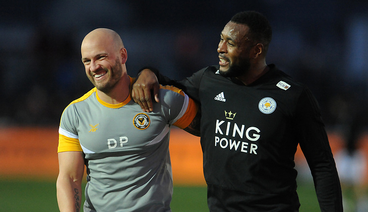 Newport County's David Pipe and Leicester City's Wes Morgan laugh and chat prior to kick off <br /> <br /> Photographer Ian Cook/CameraSport<br /> <br /> The Emirates FA Cup Third Round - Newport County v Leicester City - Sunday 6th January 2019 - Rodney Parade - Newport<br />  <br /> World Copyright &copy; 2019 CameraSport. All rights reserved. 43 Linden Ave. Countesthorpe. Leicester. England. LE8 5PG - Tel: +44 (0) 116 277 4147 - admin@camerasport.com - www.camerasport.com