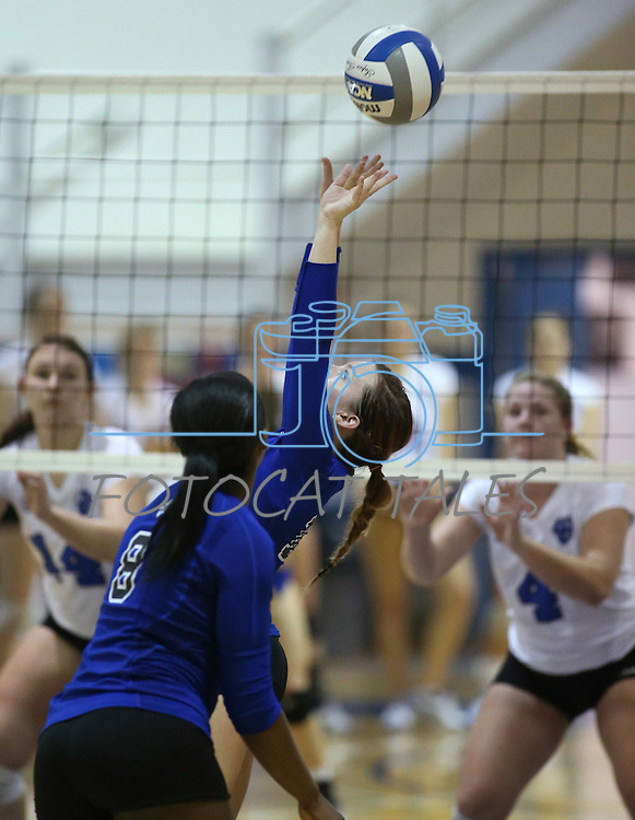 Marymount's Bri Fitzpatrick sets during a college volleyball match at Washington & Lee University Lexington, Vir., on Saturday, Oct. 5, 2013.<br /> Photo by Cathleen Allison