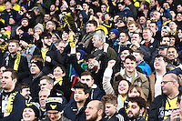 Oxford fans celebrates   during the Emirates FA Cup 3rd Round between Oxford United v Swansea     played at Kassam Stadium  on 10th January 2016 in Oxford