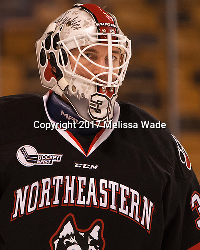 Curtis Frye (NU - 31) - The Harvard University Crimson defeated the Northeastern University Huskies 4-3 in the opening game of the 2017 Beanpot on Monday, February 6, 2017, at TD Garden in Boston, Massachusetts.