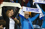 Rangers v St Johnstone...22.09.15  Scottish League Cup Round 3, Ibrox Stadium<br /> Saints fans enjoy victory at Ibrox<br /> Picture by Graeme Hart.<br /> Copyright Perthshire Picture Agency<br /> Tel: 01738 623350  Mobile: 07990 594431