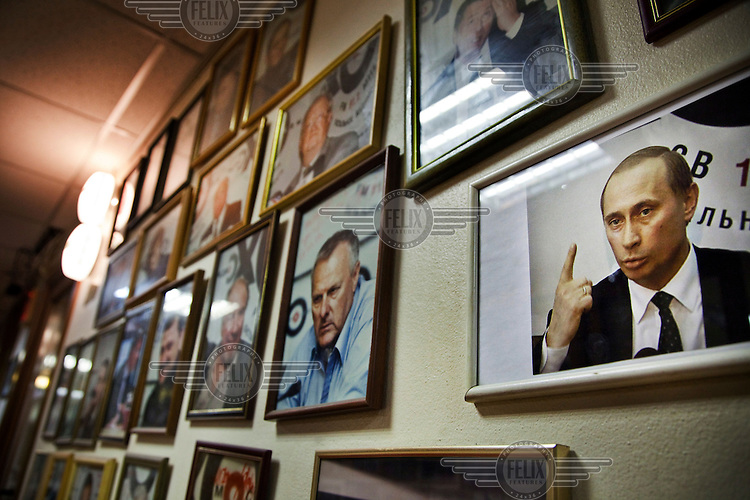 Images of famous personalities, including Russian Prime Minister (and president from March 2012) Vladimir Putin on the wall of the offices of the radio station Ekho Moskvy (Echo of Moscow). This station is deemed to be one of the last places for free media in Russia, despite the fact that 2/3 of the company is owned by Gazprom Media, the Russian oil and gas giant, which is 50.01 % owned by the Russian government.