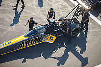 Aug 19, 2017; Brainerd, MN, USA; Crew members for NHRA top fuel driver Tony Schumacher during qualifying for the Lucas Oil Nationals at Brainerd International Raceway. Mandatory Credit: Mark J. Rebilas-USA TODAY Sports