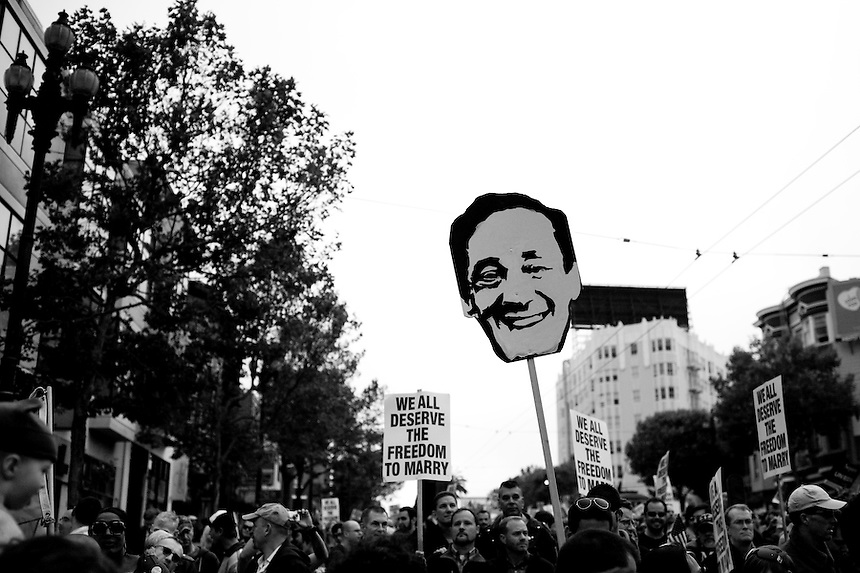 Protesters gather in San Francisco, Calif. on August 4, 2010 during an ongoing battle of marriage equality for gay and lesbian people throughout the state of California. On February 7, 2012, a U.S. Appeals court ruled that Proposition 8, banning gay marriage, was unconstitutional.