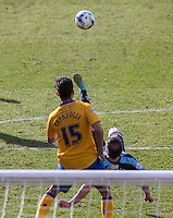 Garry Thompson of Wycombe Wanderers shoots at goal with an overhead kick during the Sky Bet League 2 match between Wycombe Wanderers and Mansfield Town at Adams Park, High Wycombe, England on 25 March 2016. Photo by Andy Rowland.