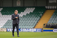 Wycombe manager Gareth Ainsworth inspects the pitch ahead of the Sky Bet League 2 match between Yeovil Town and Wycombe Wanderers at Huish Park, Yeovil, England on 8 October 2016. Photo by Mark  Hawkins / PRiME Media Images.