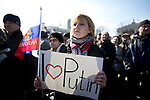 Mcc0053565 . Daily Telegraph<br /> <br /> Pro Russian protestors in Lenin Square, Donetsk today .They're unhappy with the recent ousting of the Kremlin leaning President Viktor Yanukovych and believe that Kiev has been taken over by a pro Fascist government . <br /> <br /> Donetsk 8 March 2014