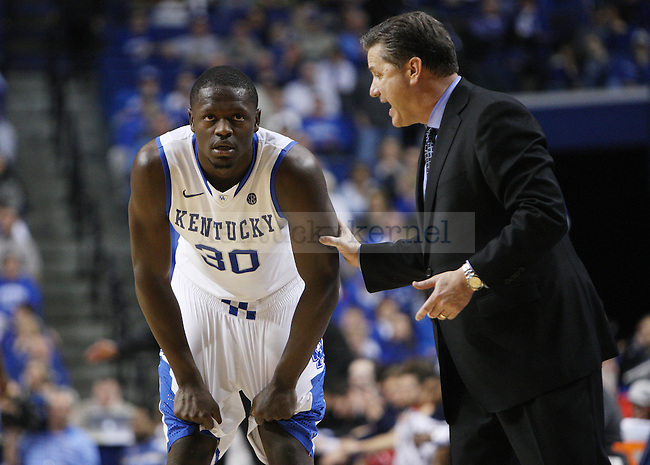 Kentucky head coach John Calipari talks to UK forward Julius Randle (30) during second the half of UK Men's Basketball vs. Ole Miss at Rupp Arena in Lexington, Ky., on Tuesday, February 4, 2014. Photo by Emily Wuetcher | Staff