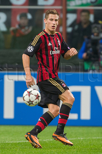 22.10.l2013. Milan, Italy. UEFA Champions League football. AC Milan versus FC Barcelona. Group stages. Valter Birsa (Milan),  at Stadio Giuseppe Meazza in Milan, Italy.