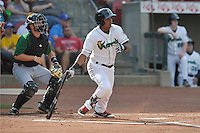 Cedar Rapids Kernels second baseman Luis Arraez (2) swings during the game against the Clinton LumberKings at Veterans Memorial Stadium on April 16, 2016 in Cedar Rapids, Iowa.  Cedar Rapids won 7-0.  (Dennis Hubbard/Four Seam Images)