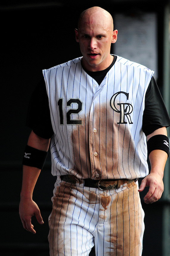 May 30, 2009: Rockies 2nd baseman Clint Barmes in the dugout during a game between the San Diego Padres and the Colorado Rockies at Coors Field in Denver, Colorado. The Rockies beat the Padres 8-7.