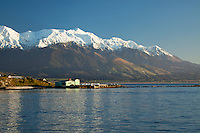Early morning light on the snowy Kaikouras seen from the road out to the peninsula, Kaikoura