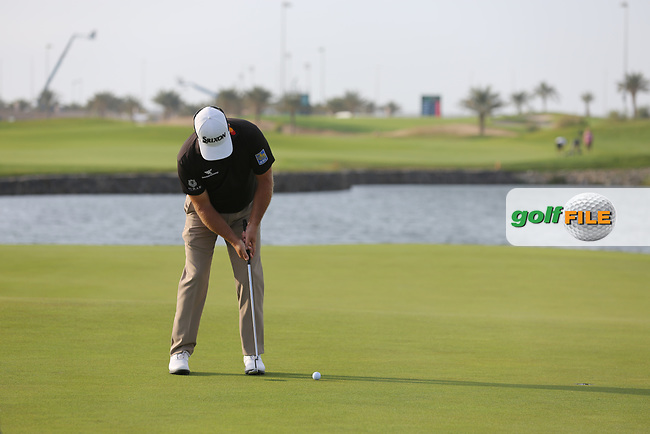 Graeme McDowell (NIR) on the 18th green during the final round of  the Saudi International powered by Softbank Investment Advisers, Royal Greens G&CC, King Abdullah Economic City,  Saudi Arabia. 02/02/2020<br /> Picture: Golffile   Fran Caffrey<br /> <br /> <br /> All photo usage must carry mandatory copyright credit (© Golffile   Fran Caffrey)