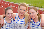 Lydia Barnett, Rebecca Spellman and Meagan Dunne (Tralee Harriers) who competed in the Long Jump at the County Athletic Championships in Castleisland last Saturday.  .