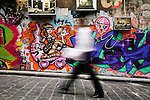 Colourful street art lines the walls of Hosier Lane in central Melbourne, Victoria, AUSTRALIA.