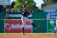 State College Spikes second baseman Donivan Williams (5) throws to first base during a NY-Penn League game against the Batavia Muckdogs on July 1, 2019 at Dwyer Stadium in Batavia, New York.  Batavia defeated State College 5-4.  (Mike Janes/Four Seam Images)