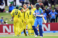 Australia's Will Sutherland celebrates the wicket of India's captain Prithvi Shaw with his team mates during the ICC U-19 Cricket World Cup 2018 Finals between India v Australia, Bay Oval, Tauranga, Saturday 03rd February 2018. Copyright Photo: Raghavan Venugopal / © www.Photosport.nz 2018 © SWpix.com (t/a Photography Hub Ltd)