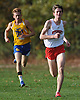 Peter Zimbalist of Syosset, right, takes the lead down the stretch of the Nassau County Class I varsity boys cross country championship race at Bethpage State Park on Saturday, Oct. 29, 2016.