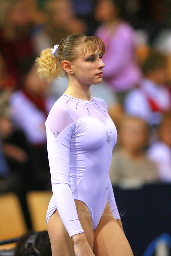 Oct 19, 2006; Aarhus, Denmark; Portrait is of Alina Kozich of Ukraine preparing for balance beam during women's gymnastics All-Around  final at 2006 World Championships Artistic Gymnastics. Photo by Tom Theobald