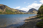 Landscape view of Fleetwith Pike and Lake Buttermere, Cumbria, England, UK