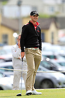 Conor O'Rourke (Naas) on the 1st tee during the Quarter Finals of The South of Ireland in Lahinch Golf Club on Tuesday 29th July 2014.<br /> Picture:  Thos Caffrey / www.golffile.ie