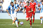 CD Leganes' David Timor (l) and Sevilla FC's Sergio Escudero during La Liga match. October 15,2016. (ALTERPHOTOS/Acero)