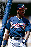 Fred McGriff of the Atlanta Braves during a game at Dodger Stadium in Los Angeles, California during the 1997 season.(Larry Goren/Four Seam Images)