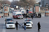 Washington, DC - January 20, 2009 -- An ambulance arrives at the East Front of the U.S. Capitol after the inauguration of Barack Obama as the 44th President of the United States of America Tuesday, January 20, 2009 in Washington, DC. Sen. Edward Kennedy (D-MA) was reported to have collapsed while Sen. Robert Byrd (D-WV) was also removed at the luncheon following the inauguration ceremony.  .Credit: John Moore - Pool via CNP