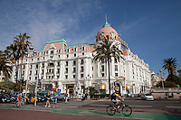 Negresco Hotel, Nice, France, 28 April 2012. The Promenade des Anglais may be seen in the foreground.