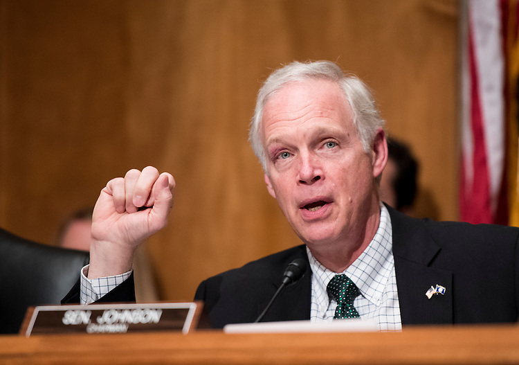 "UNITED STATES - JUNE 7: Chairman Ron Johnson, R-Wis., speaks during the Senate Homeland Security and Governmental Affairs Committee hearing on ""Frustrated Travelers: Rethinking TSA Operations to Improve Passenger Screening and Address Threats to Aviation"" on Tuesday, June 7, 2016. (Photo By Bill Clark/CQ Roll Call)"
