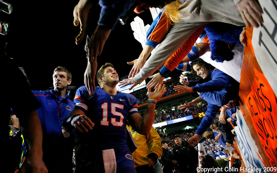 GAINESVILLE, FL 11/28/09-FSU-UF FB09 CH59-Florida's Tim Tebow celebrates after the Gators beat the Seminoles 37-10. Saturday at Florida Field in Gainesville. .COLIN HACKLEY PHOTO