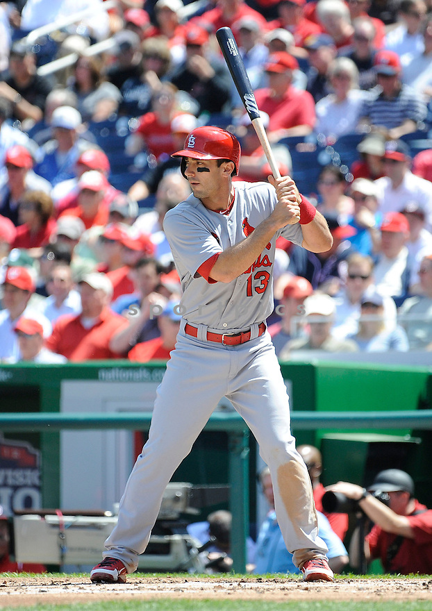 St. Louis Cardinals Matt Carpenter (13) during a game against the Washington Nationals on April 24, 2013 at Nationals Park in Washington DC. The Cardinals beat the Nationals 4-2.