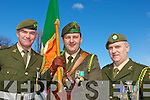 .Sargent Padraig Costello, Captain Tommy Martin and Company Sargent John O'Connor carry the tri colour at the Killarney St Patricks parade on Thursday