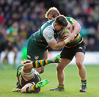 Mike Fitzgerald of Leicester Tigers is double-tackled. Aviva Premiership match, between Northampton Saints and Leicester Tigers on April 16, 2016 at Franklin's Gardens in Northampton, England. Photo by: Patrick Khachfe / JMP