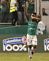 PALMIRA - COLOMBIA, 06-03-2020: Darwin Andrade del Cali celebra después de anotar el segundo gol de su equipo durante partido entre Deportivo Cali y Deportivo Pereira por la fecha 8 de la Liga BetPlay DIMAYOR I 2020 jugado en el estadio Deportivo Cali de la ciudad de Palmira. / Darwin Andrade of Cali celebrates after scoring the second goal of his team during match between Deportivo Cali and Deportivo Pereira for the date 8 as part of BetPlay DIMAYOR League I 2020 played at Deportivo Cali stadium in Palmira city . Photo: VizzorImage / Gabriel Aponte / Staff