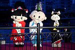 "Tokyo, Japan - (L to R) Sumida City mascots Atsu-chan, Oshirani-kun and Mukojima Kototoi Ne-san at the opening ceremony of Tokyo Hotaru Festival, May 26, 2013. Every year at the Tokyo Hotaru ""Symphony of Light"" (Hikari no Symphony) thousands of lights ""payer stars"" (inori no hoshi) are thrown along to the river. This year in collaboration with Tokyo Sky Tree the organizers also illuminate the tower to support the Tokyo City as a candidate of Olympic 2020. (Photo by Rodrigo Reyes Marin/AFLO).."