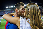 Leo Messi kiss Antonella Roccuzzo  during the match of  Copa del Rey (King's Cup) Final between Deportivo Alaves and FC Barcelona at Vicente Calderon Stadium in Madrid, May 27, 2017. Spain.. (ALTERPHOTOS/Rodrigo Jimenez)
