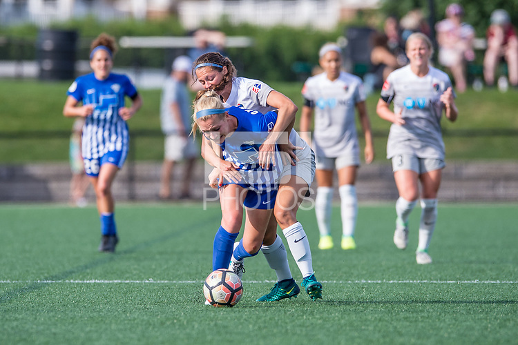 Boston, MA - Saturday June 24, 2017: Megan Oyster and Ashley Hatch during a regular season National Women's Soccer League (NWSL) match between the Boston Breakers and the North Carolina Courage at Jordan Field.