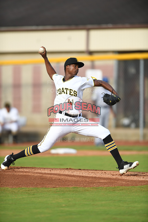 Bristol Pirates starting pitcher Luis Ortiz (41) throws to a batter during the game with the Burlington Royals at Boyce Cox Field on June 19, 2019 in Bristol, Virginia. The Royals defeated the Pirates 1-0. (Tracy Proffitt/Four Seam Images)
