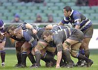 31/01/2004 Parker Pen Challenge Trophy.Bath Rugby v Beziers.Bath Front eight pack down....   [Mandatory Credit, Peter Spurier/ Intersport Images].