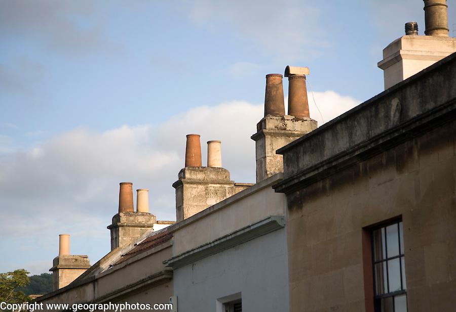 Chimney pots on Georgian houses in Larkhall, Bath, Somerset, England
