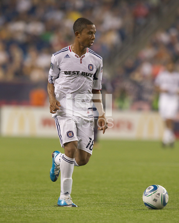 Chicago Fire midfielder/defender Mike Banner (18).The Chicago Fire defeated the New England Revolution, 1-0, at Gillette Stadium on June 27, 2010.