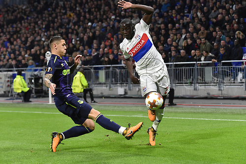 2nd November 2017, Nice, France; EUFA Europa League, Olympique Lyonnais versus Everton;  Ferland Mendy (lyon) gets past the sliding tackle from Muhamed Besic (everton)